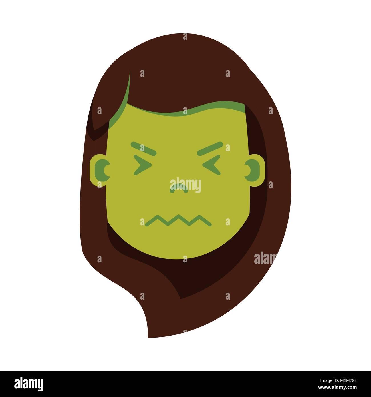 Girl Head Emoji Personage Icon With Facial Emotions Avatar