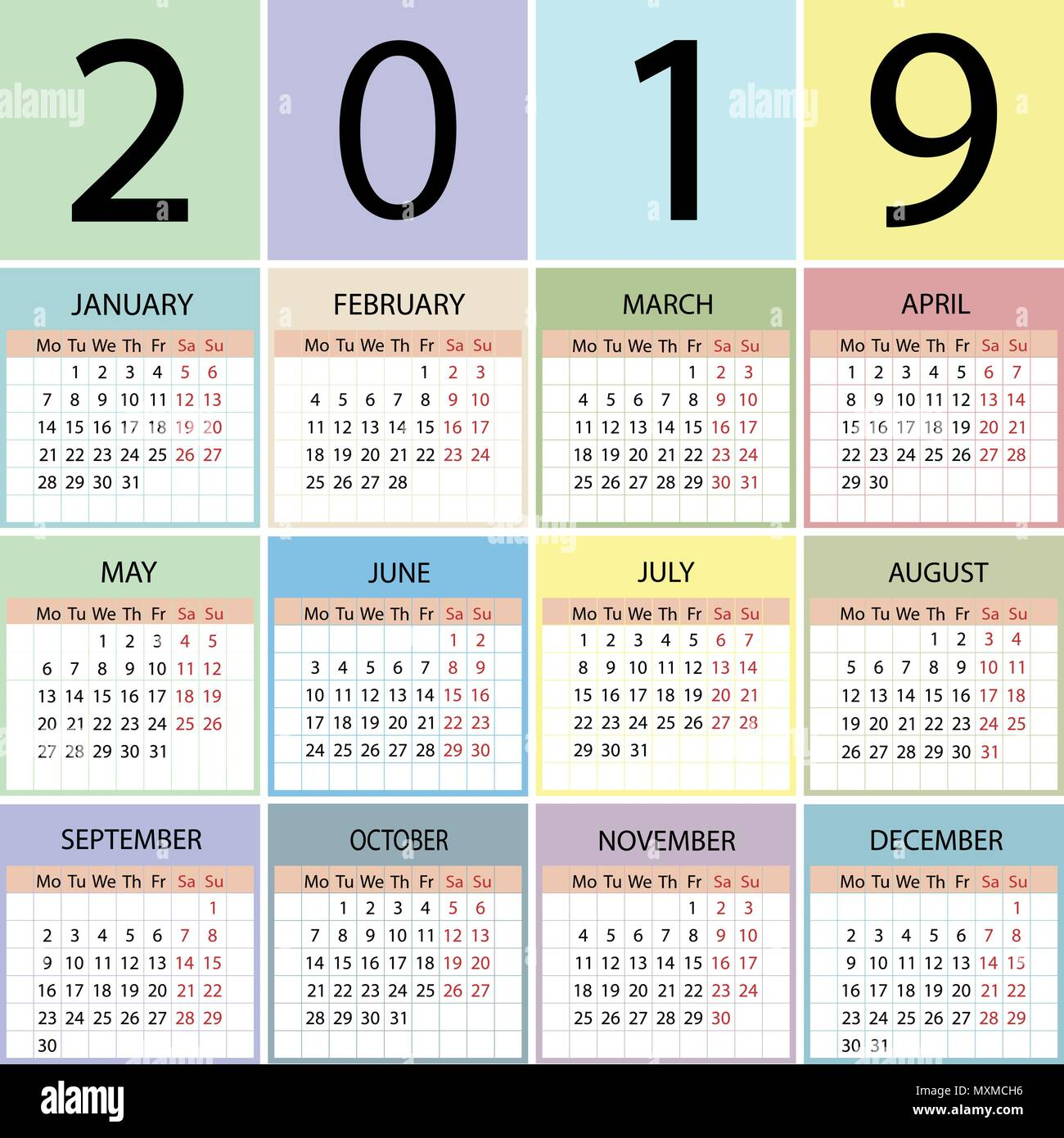 calendar 2019 year week starts with monday