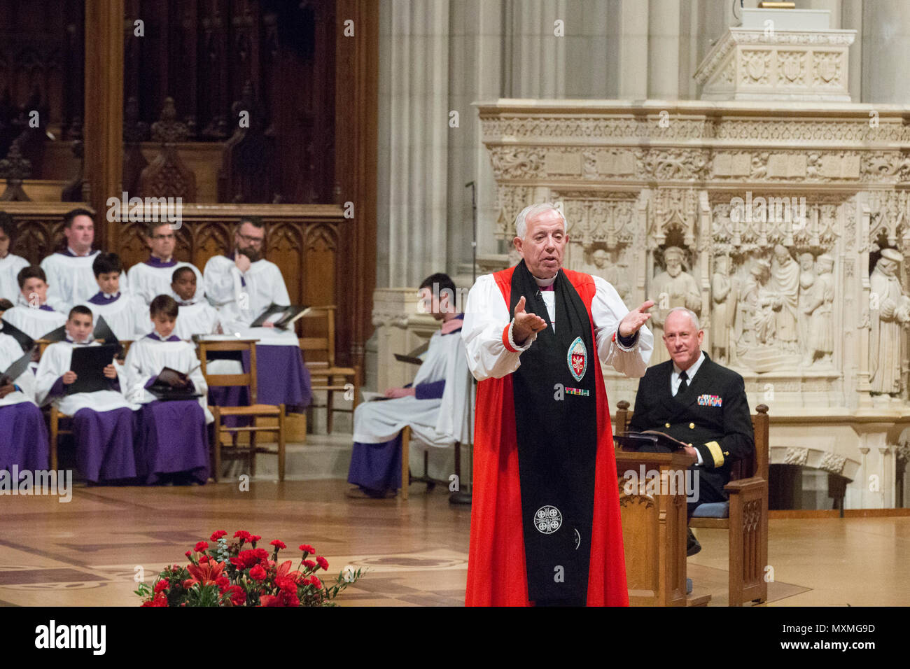 Reverend James B. Magness, bishop suffragan for Armed Services and Federal Ministries, welcomes guests to the Marine Corps Worship Service at the Washington National Cathedral, Washington, D.C., Nov. 13, 2016. The worship service honored the 241st anniversary of the Marine Corps. (U.S. Marine Corps photo by Lance Cpl. Daisha R. Sosa) - Stock Image
