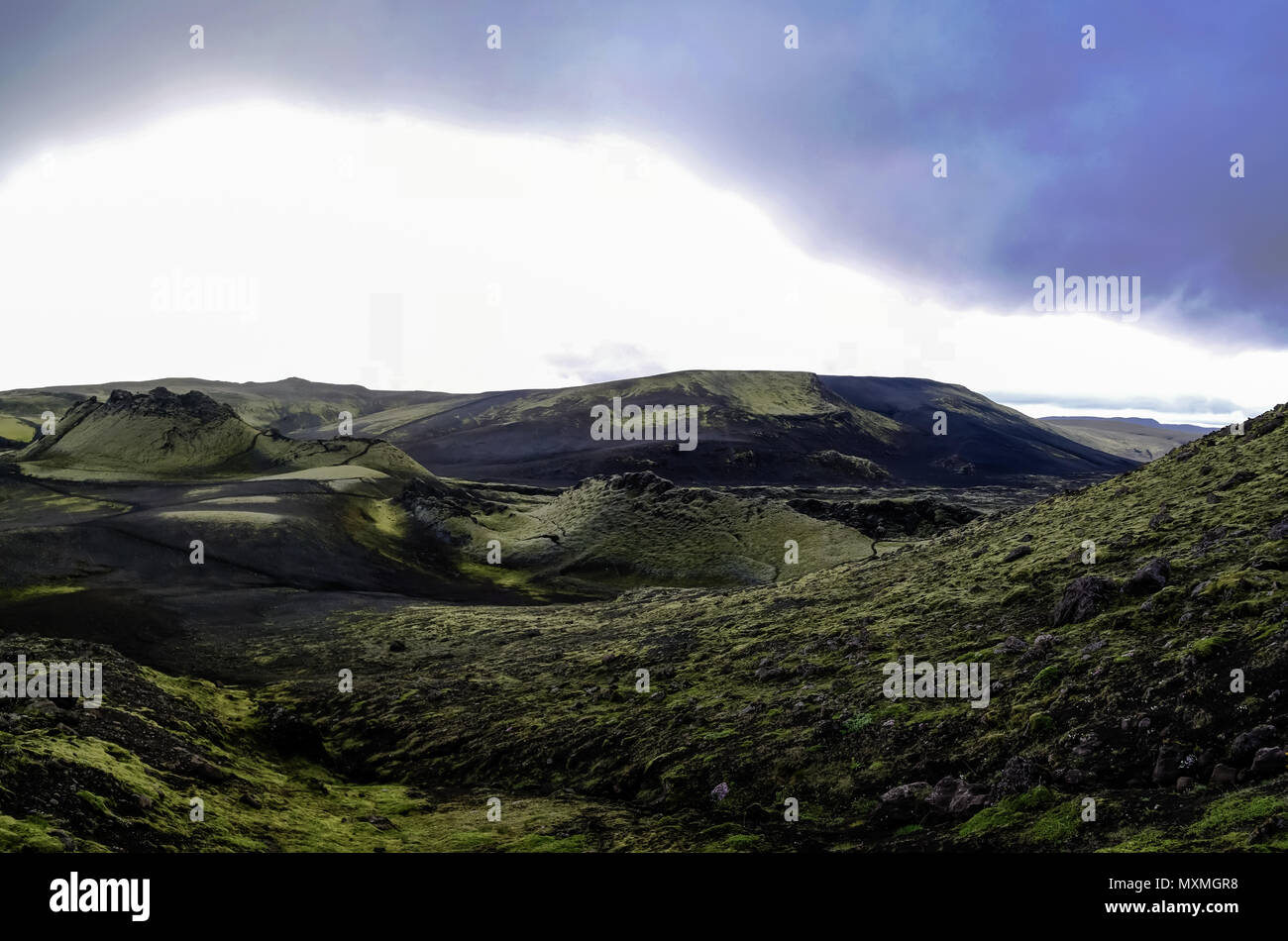 Landscape of Lakagigar volcanic valley at Iceland Stock Photo