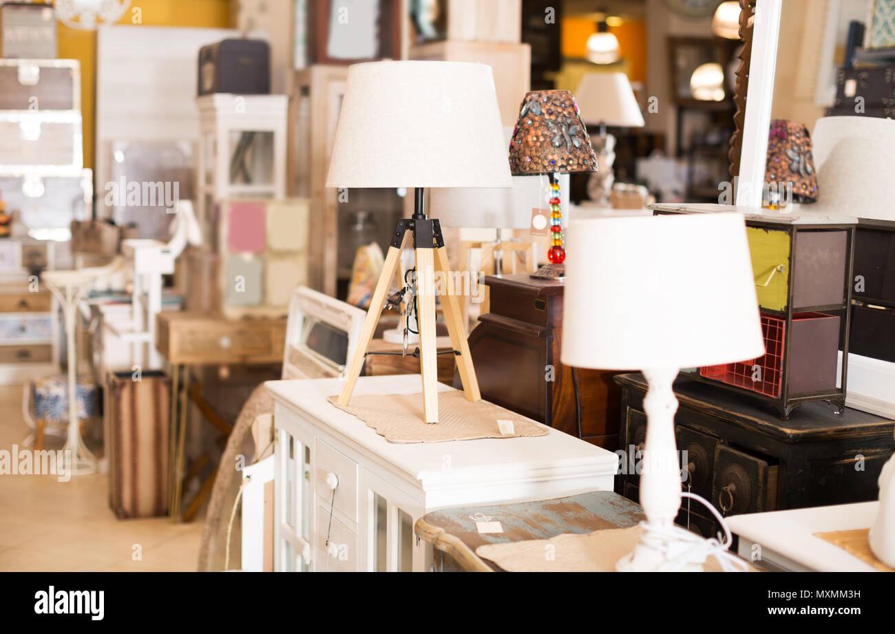 Image of beauty modern furniture shop with designer torchere for bedroom