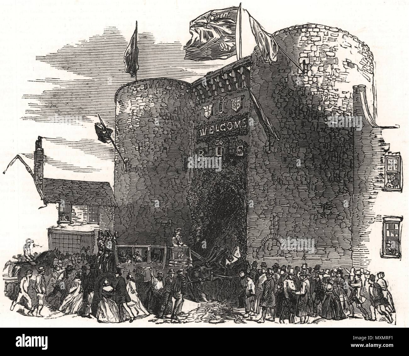 Lord Mayor of London procession at the old gate, Rye. Sussex 1850. The Illustrated London News - Stock Image