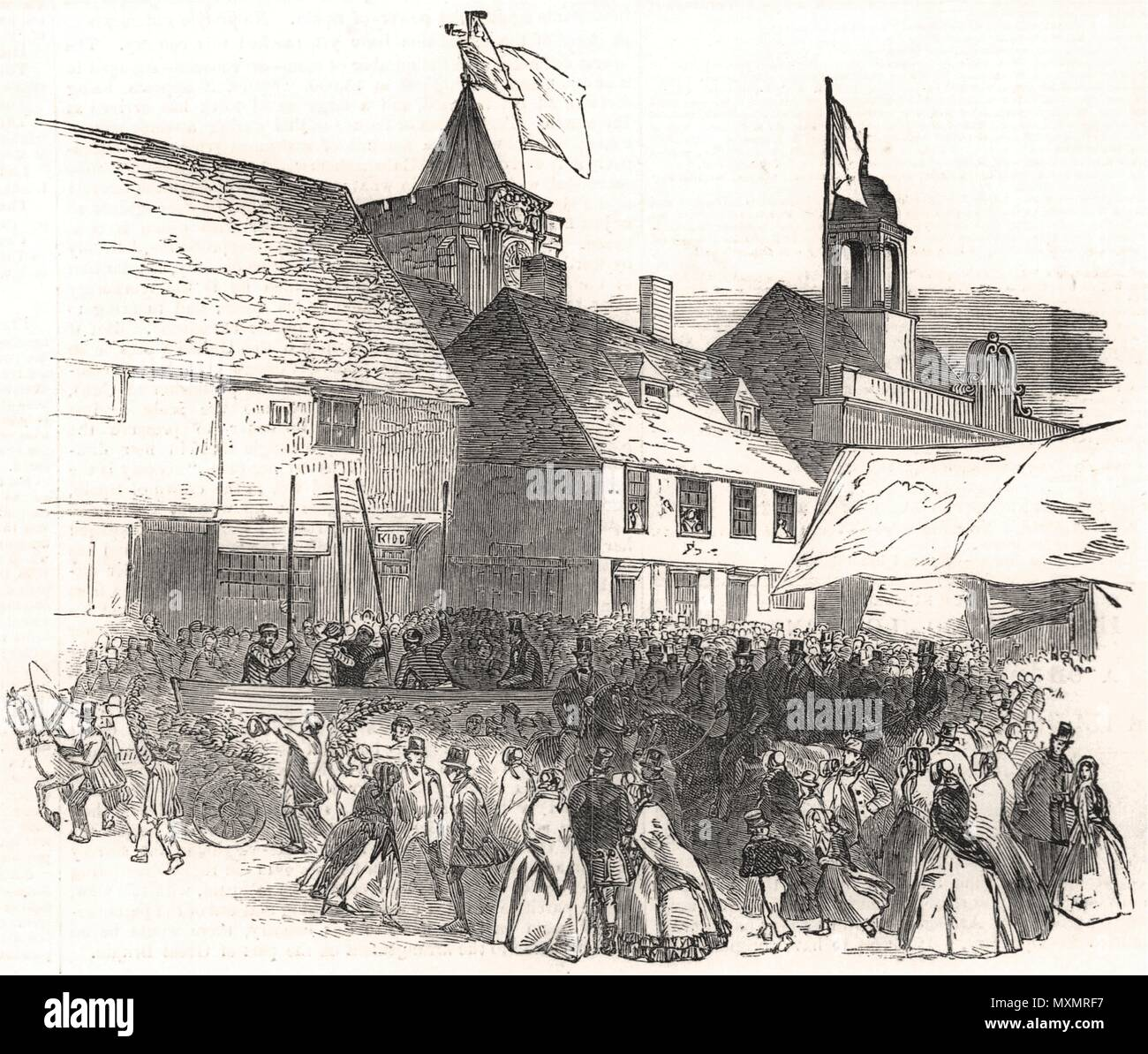 Lord Mayor of London procession near the church, at Rye. Sussex 1850. The Illustrated London News - Stock Image