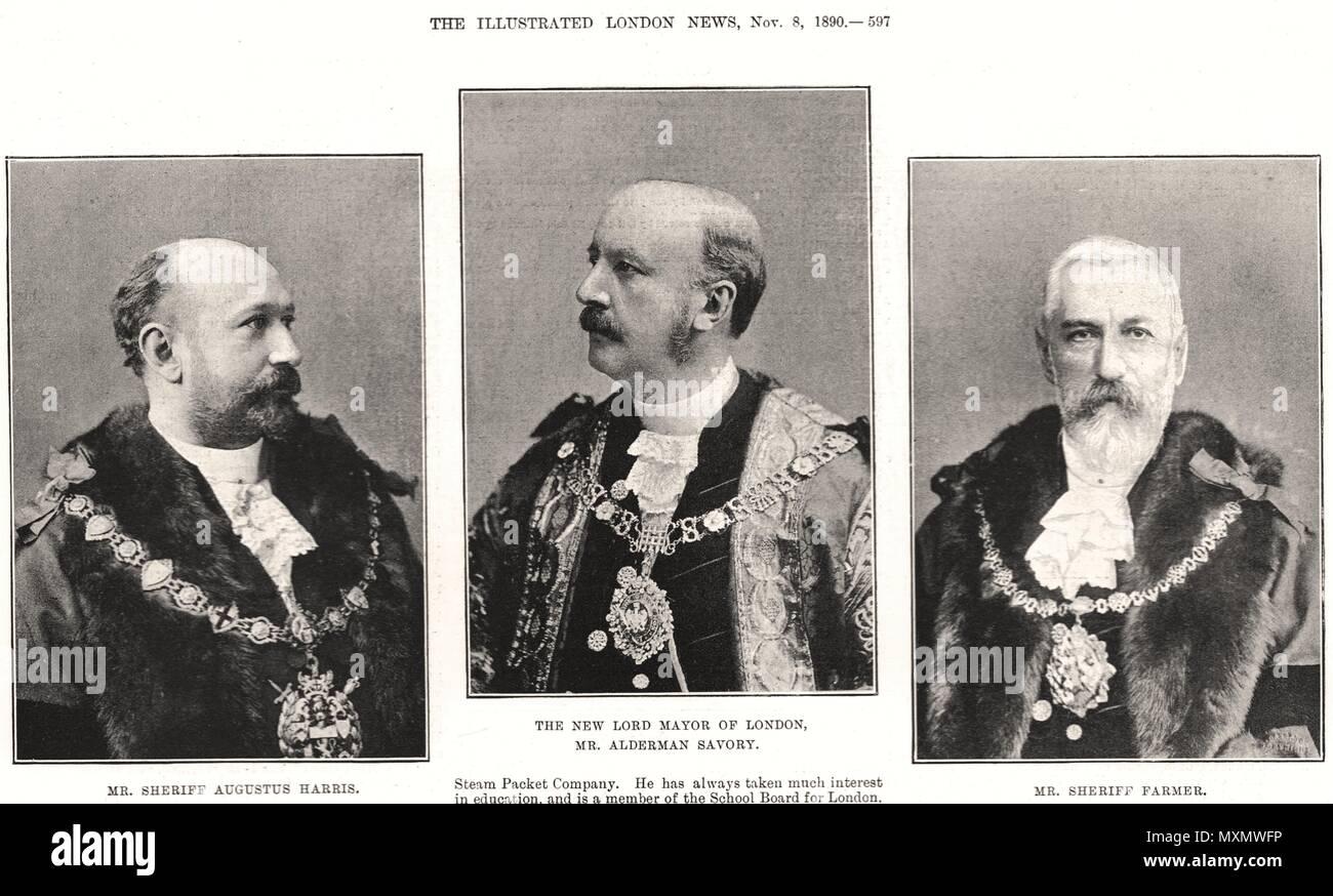 Augustus Harris Lord Mayor of London Alderman Savory Sheriff Farmer 1890. The Illustrated London News - Stock Image
