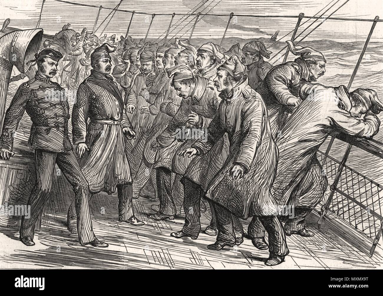 Kaffir War troop transport A tricky parade on board the Nubian 1878. The Illustrated London News Stock Photo