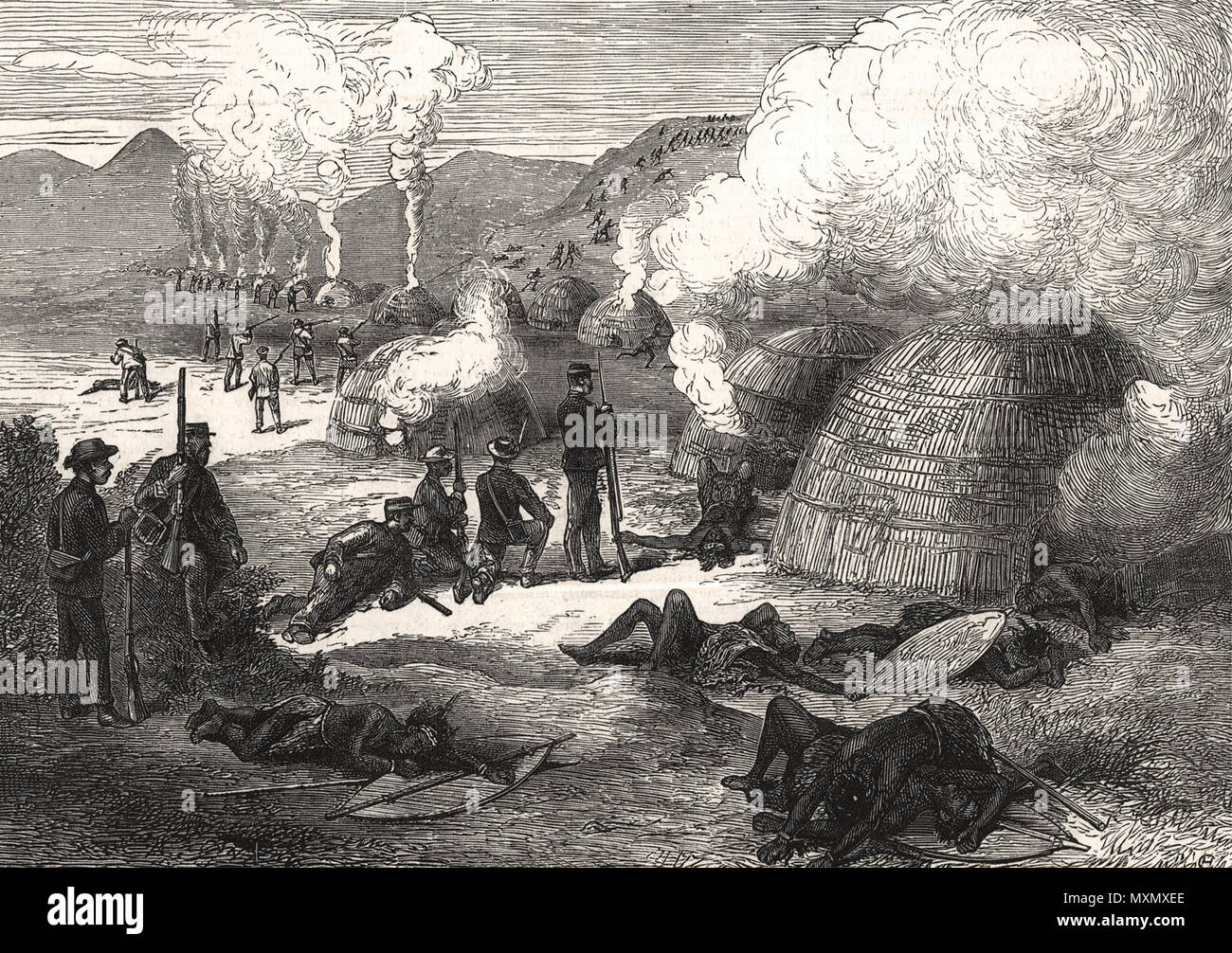 Burning of Kreli's Kraal. South Africa 1877. The Illustrated London News - Stock Image