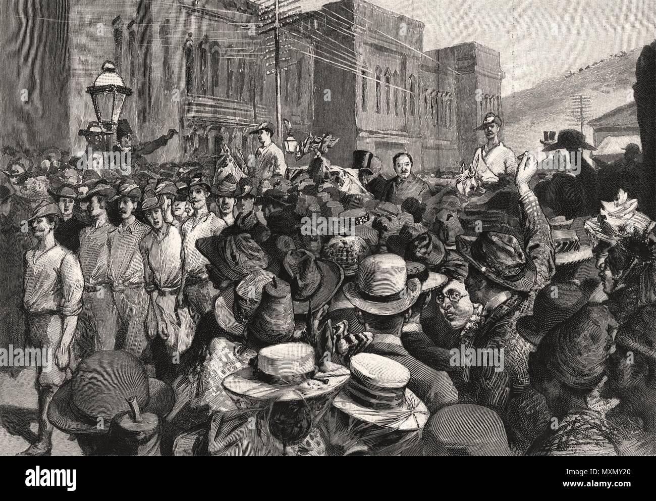 Cecil Rhodes leaving Cape Town railway station in a carriage. South Africa 1897. The Illustrated London News - Stock Image