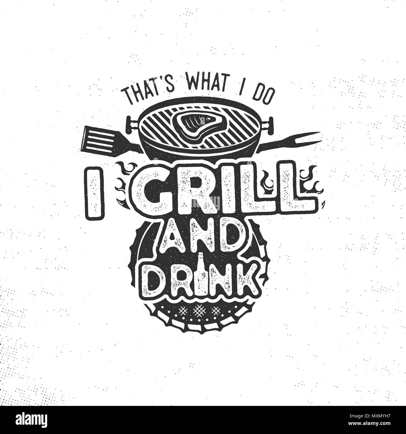 thats what i do i drink and grill things retro bbq tshirt design