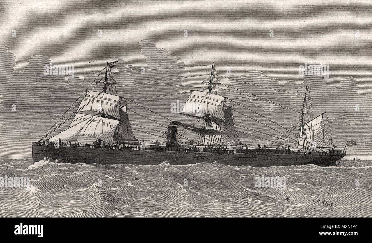 The new Cunard steam-ship Bothnia. Ships 1874. The Illustrated London News - Stock Image