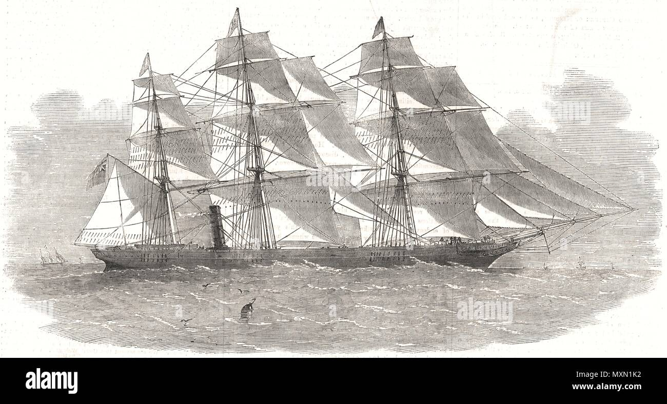 The new screw clipper-ship ' Khersonese '. Ships 1855. The Illustrated London News - Stock Image