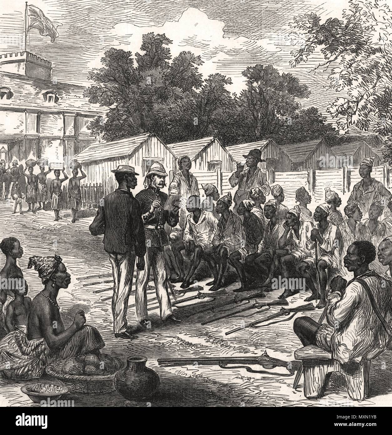 The Ashanti war arrivals at the north gate, Coast Castle. Ghana 1874. The  Illustrated London News