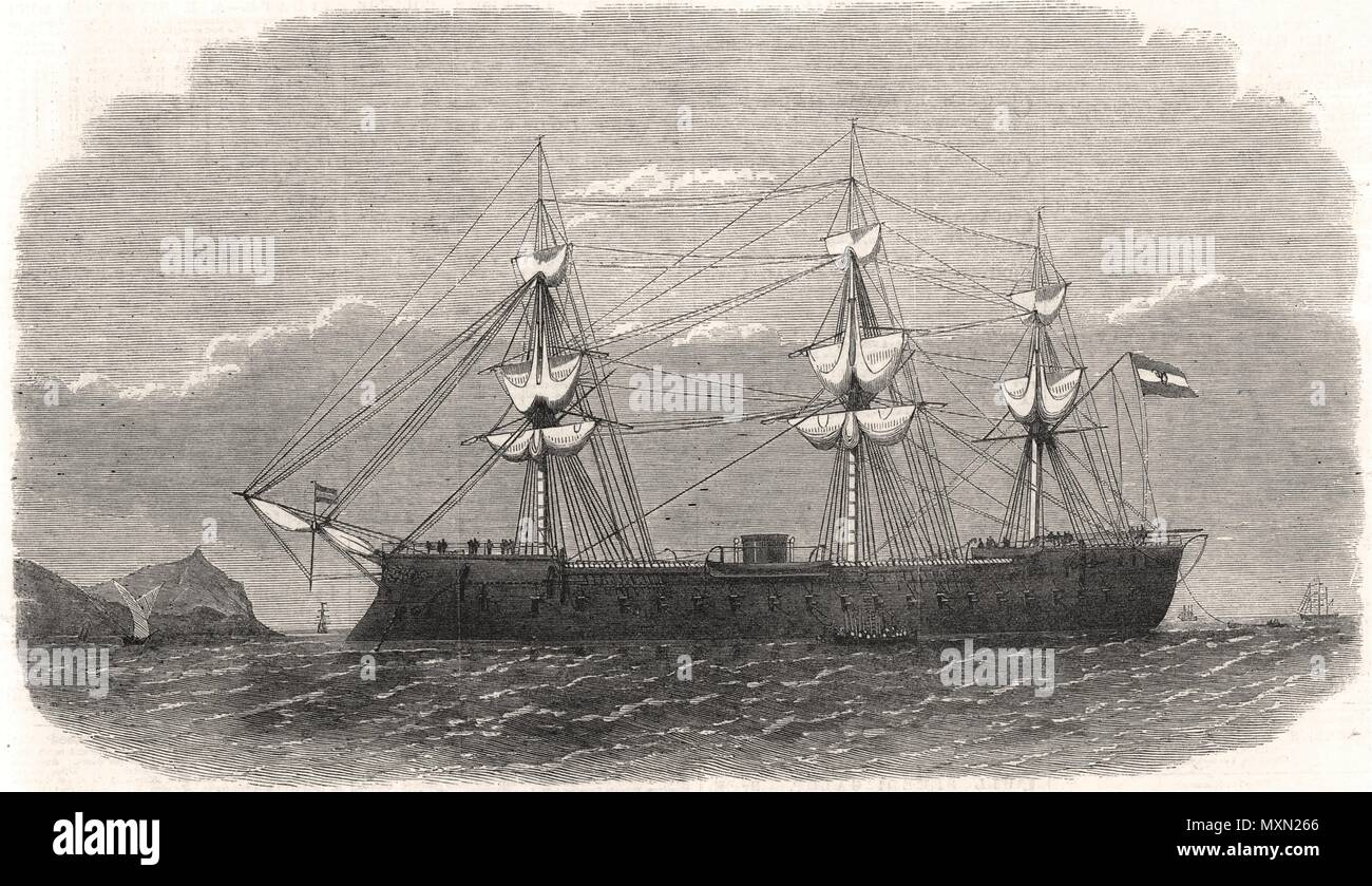 The Spanish iron-clad frigate Numancia in the harbour of Callao. Peru 1863. The Illustrated London News - Stock Image