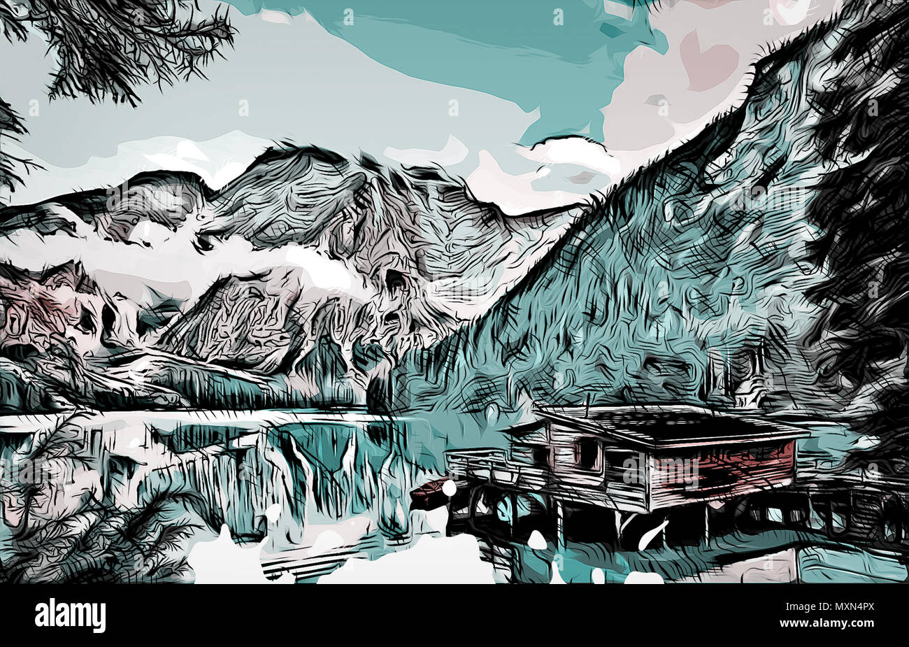 Illustration of a cabin on a lake in between some alaska mountains during summertime. Illustrated like its daytime. Very suitable as a book cover. - Stock Image