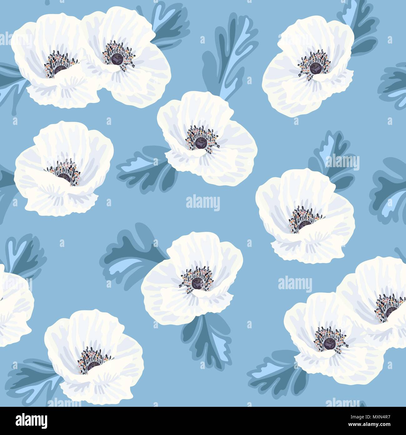 Tender white vector anemones and blue leaves on the blue background seamless pattern - Stock Vector