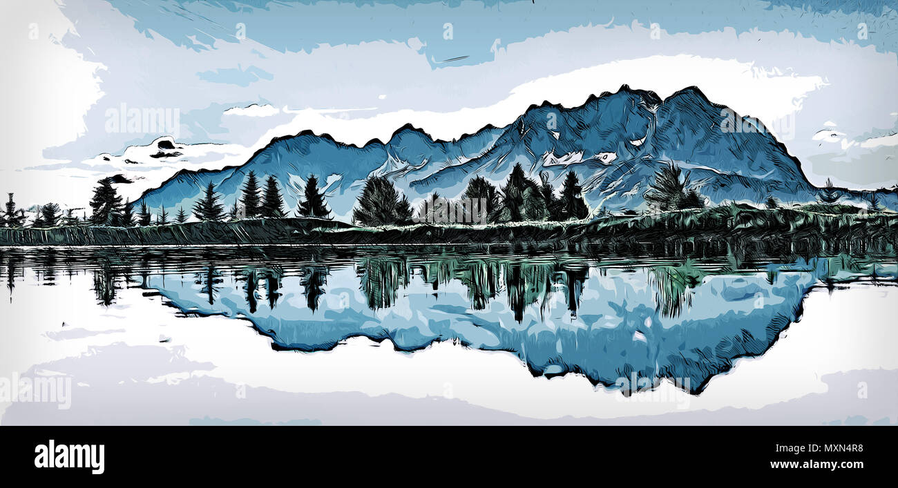 Illustration of a small lakeside forest with blue mountains in the background during spring/summer. - Stock Image