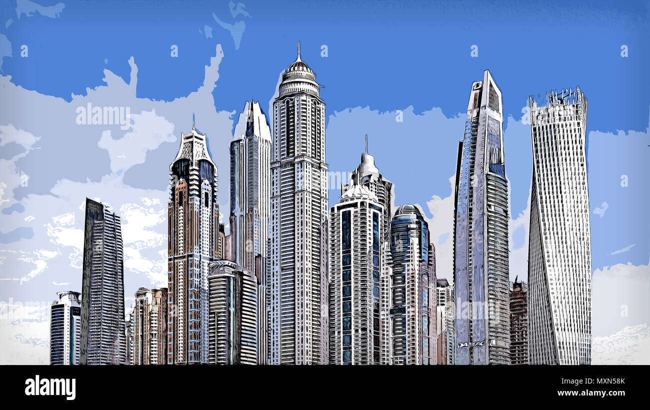 Illustration of a City with lots of high skyscrapers and other tall buildings. During summer with partially cloudy clear sky. - Stock Image