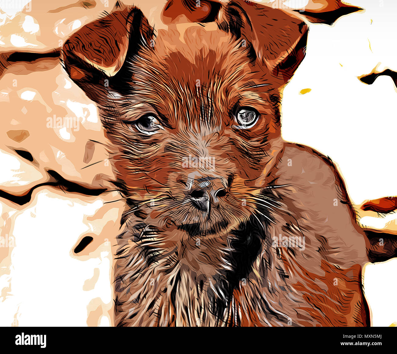 Illustration of a brown puppy dog looking at the camera - Stock Image