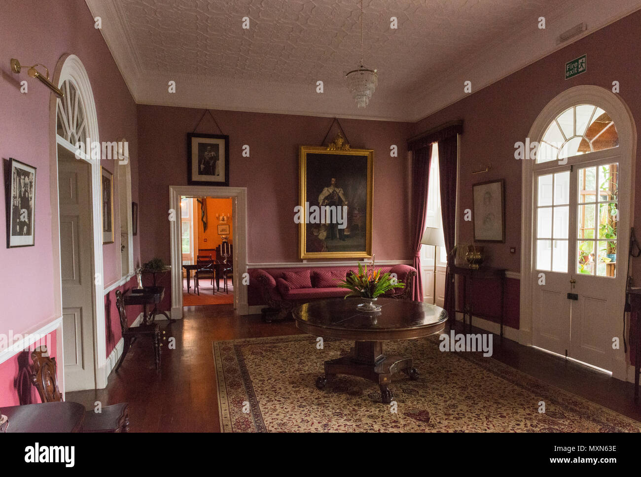 Entrance hallway of Plantation House, the British Governor's Residence. St Helena Stock Photo