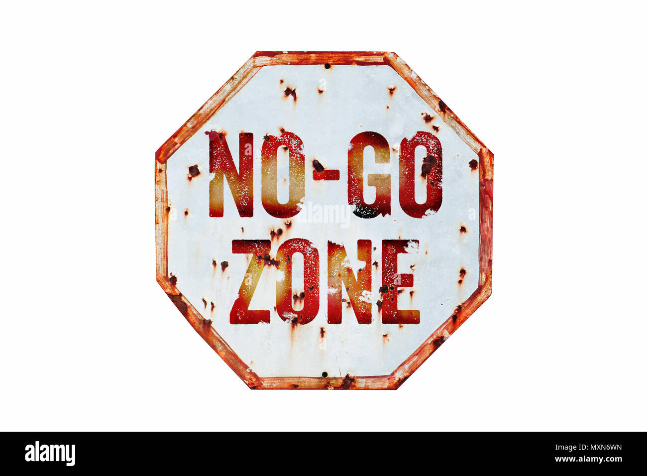 """""""No-Go Zone"""" warning sign over grungy white and red old rusty road traffic sign texture background. Sign as concept for: do not enter the area, cautio - Stock Image"""