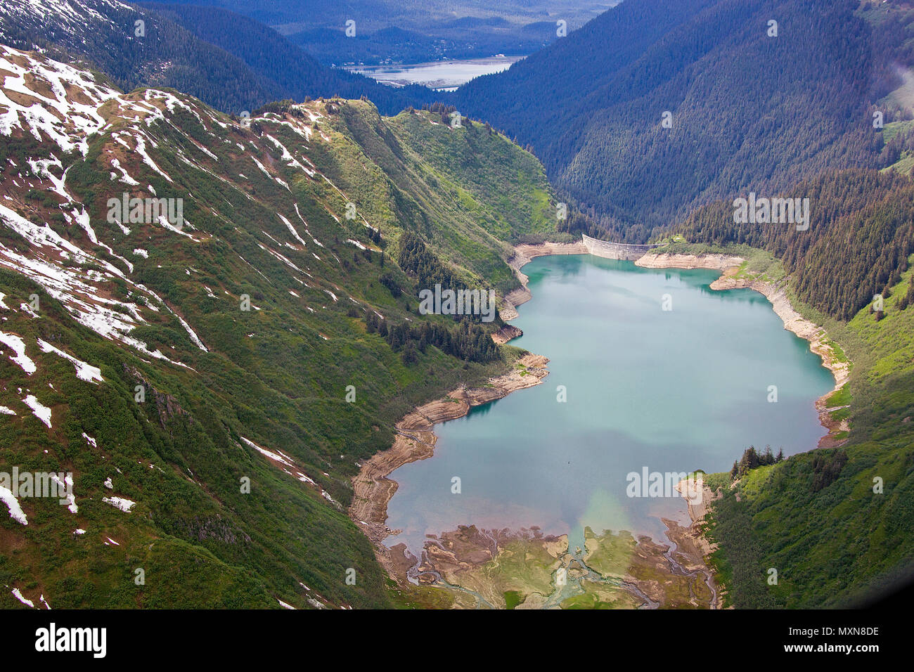 Gletschersee am Mendenhall-Gletscher, Juneau, Alaska, Nordpazifik, USA   Glacier lake at Mendenhall glacier, Alaska, North Pacific, USA - Stock Image