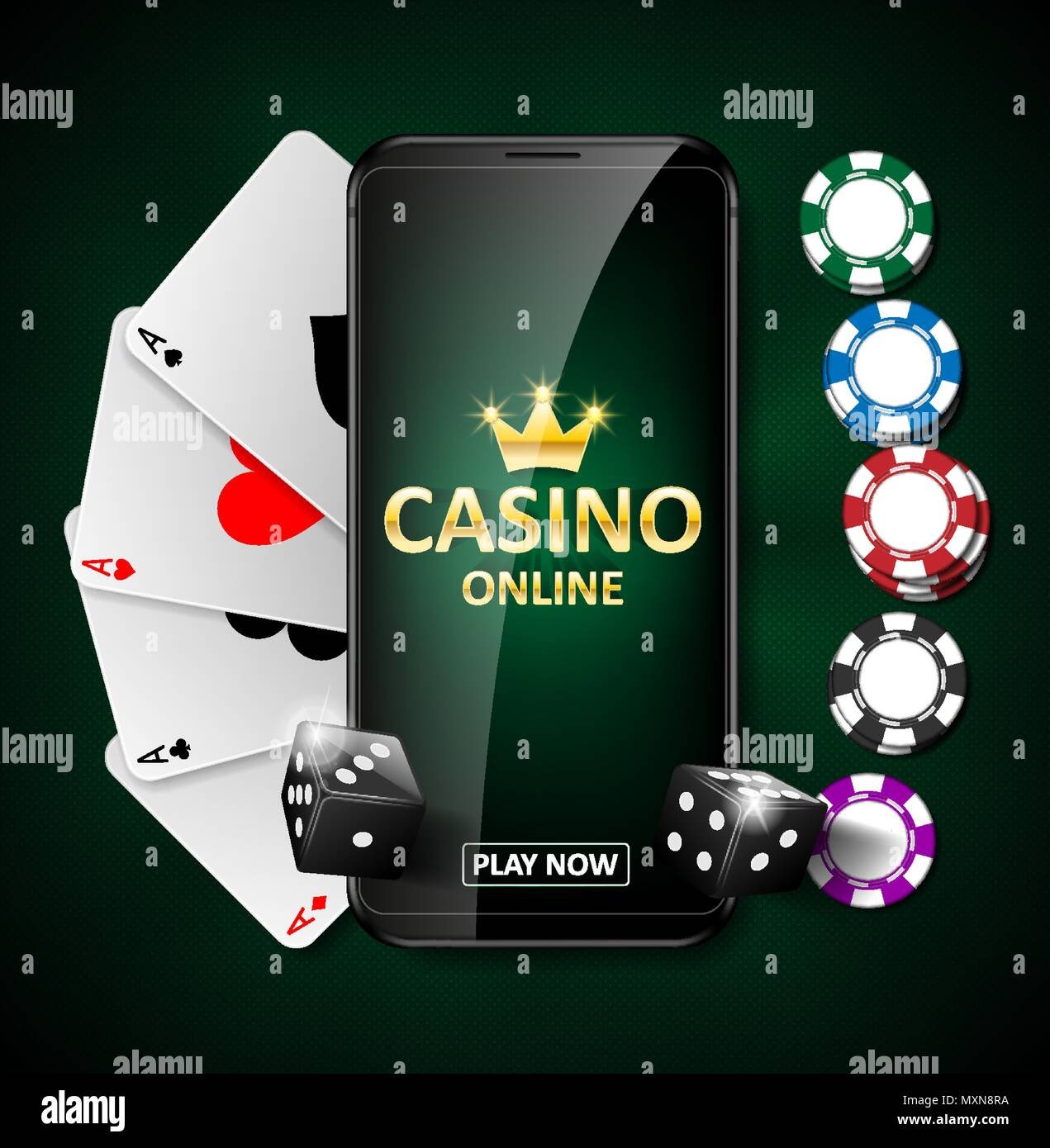 Online Internet Casino Marketing Banner Phone App With Dice Poker Chips And Playing Cards Playing Web Poker And Gambling Casino Games Vector Illustration Stock Vector Image Art Alamy