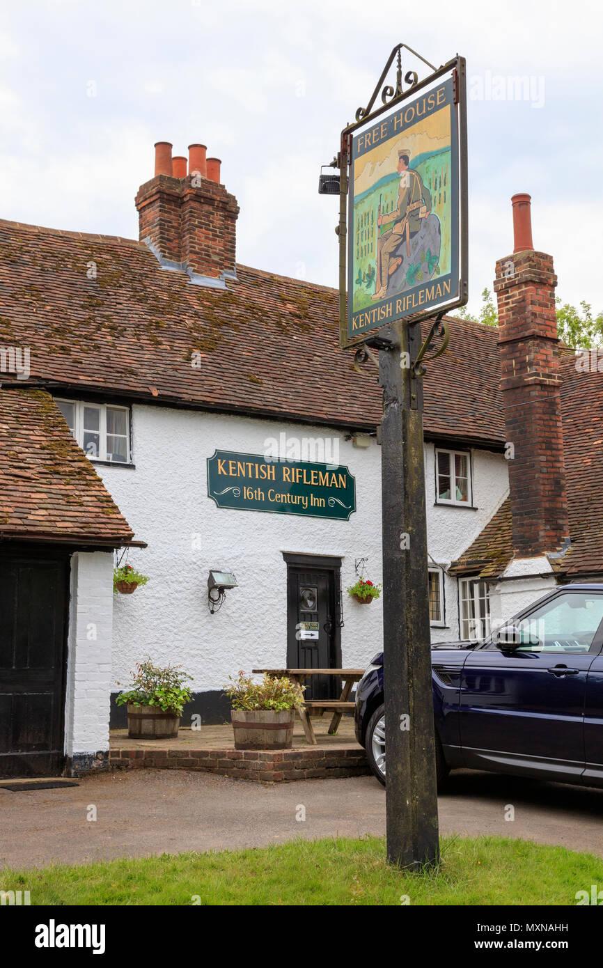 The Kentish Rifleman a pub in Dunks Green near Hadlow in Kent. UK Stock Photo