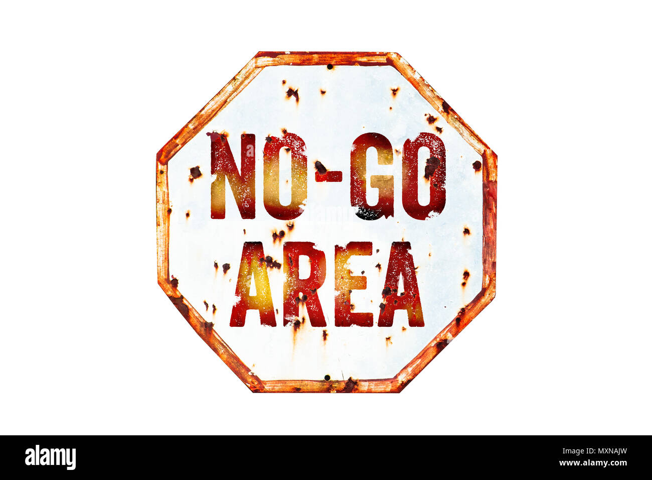 """""""No-Go Area"""" warning sign over grungy white and red old rusty road traffic sign texture background. Sign as concept for: do not enter the area, cautio - Stock Image"""