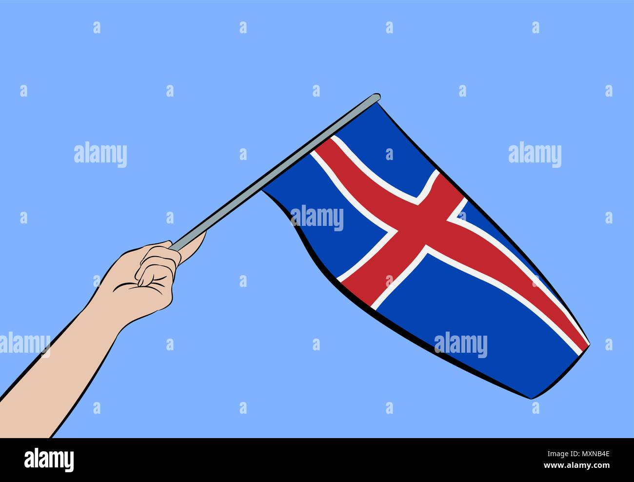 Female hand waving the flag of Iceland on a blue sky, vector illustration - Stock Vector