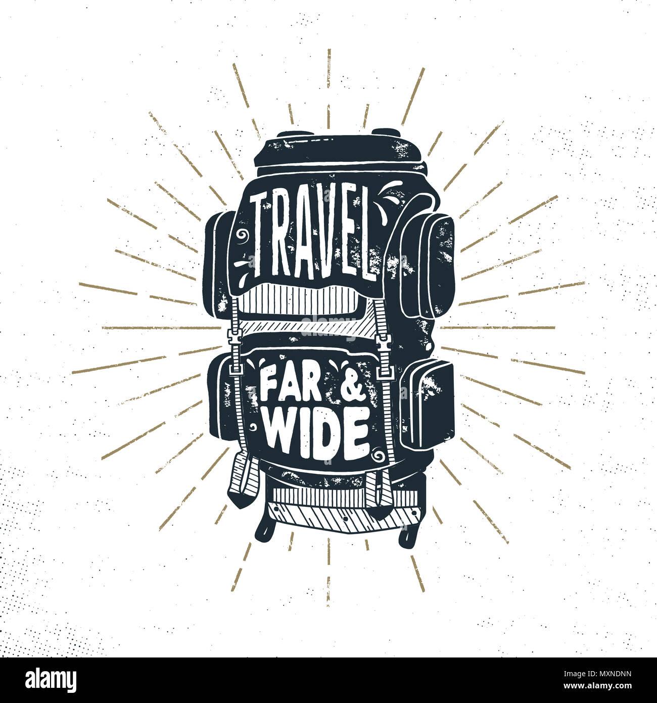 Vintage Hand Drawn Camper Backpack Design With Words Travel Far