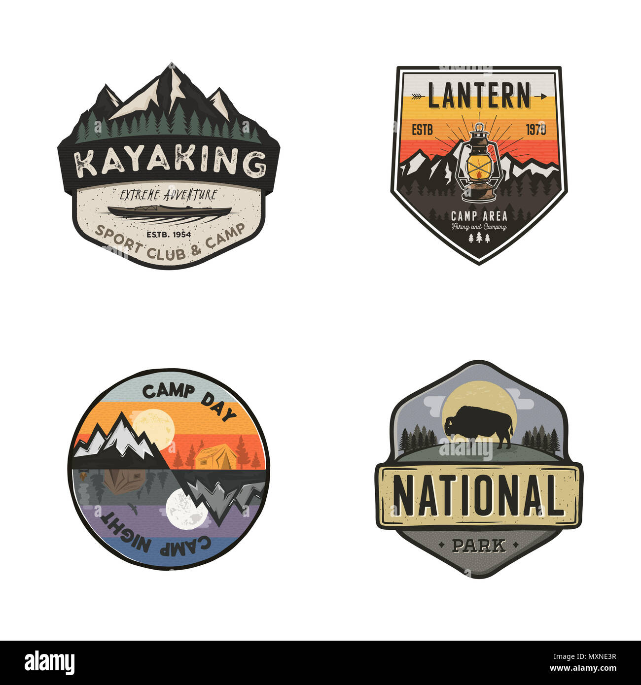 Set of vintage hand drawn travel logos. Hiking labels concepts. Mountain expedition badge designs. Travel logos, camp logotypes collection. Stock retro patches isolated on white background - Stock Image