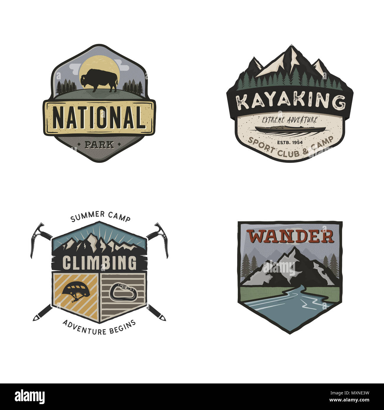 Set of vintage hand drawn travel logos. Camping labels concepts. Mountain expedition badge designs. Travel logos, camp logotypes collection. Stock retro patches isolated on white background - Stock Image