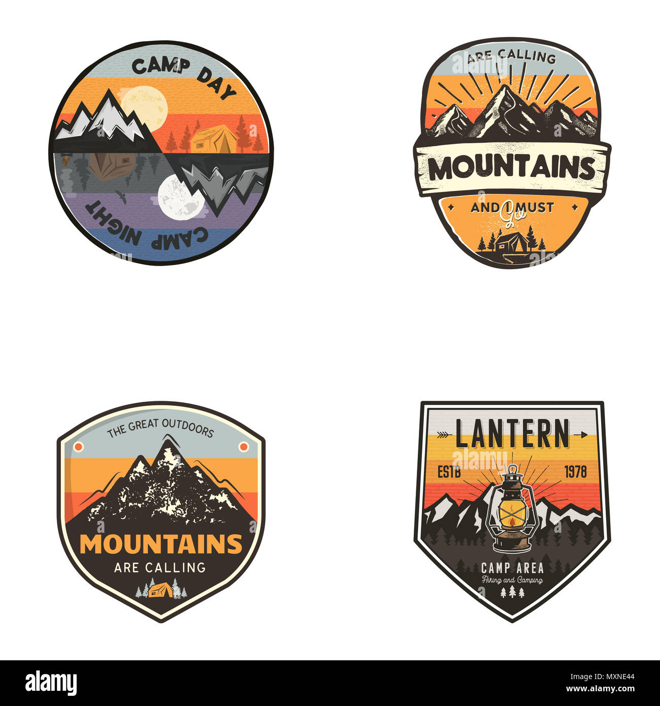 Set of vintage hand drawn travel logos. Hiking labels concepts. Mountain expedition badge designs. Travel logos, trekking logotypes collection. Stock retro patches isolated on white background - Stock Image