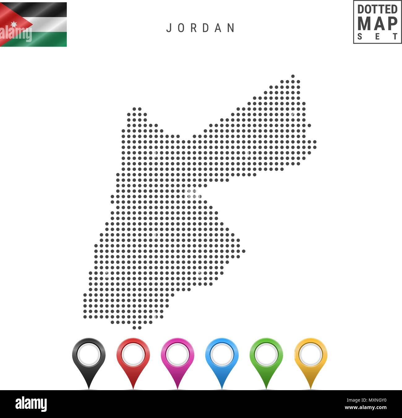 Vector Dotted Map of Jordan. Simple Silhouette of Jordan. The National Flag of Jordan. Set of Multicolored Map Markers - Stock Image