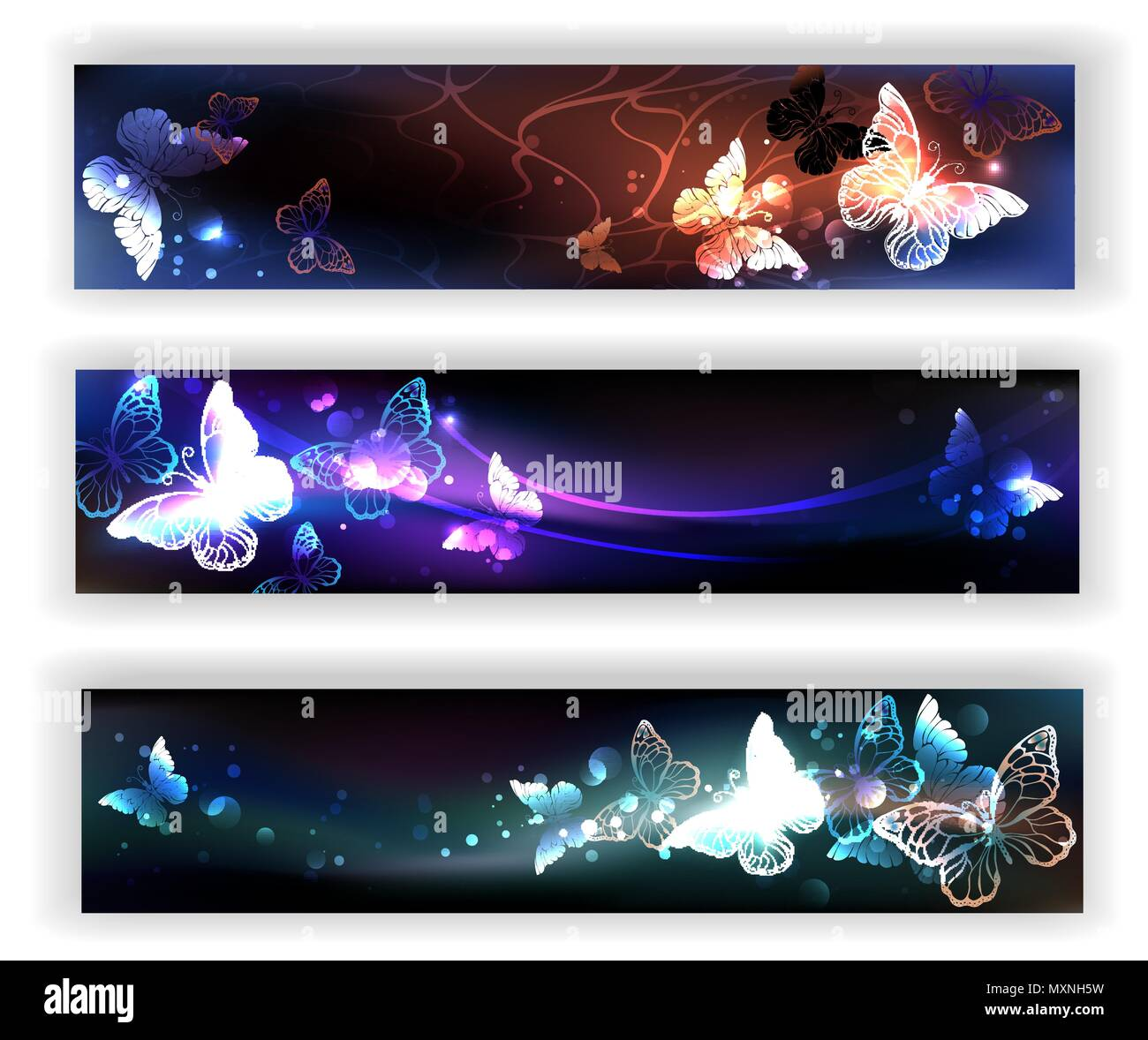 Three rectangular banners with night, glowing, magical butterflies on black background. - Stock Image