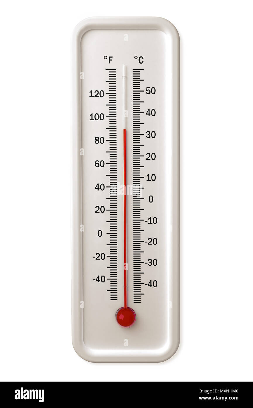 Thermometer with red indicator isolated over a white background. - Stock Image