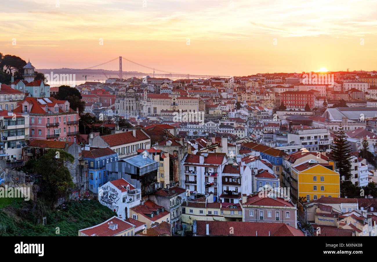 Lisbon historic city at sunset, Portugal - Stock Image