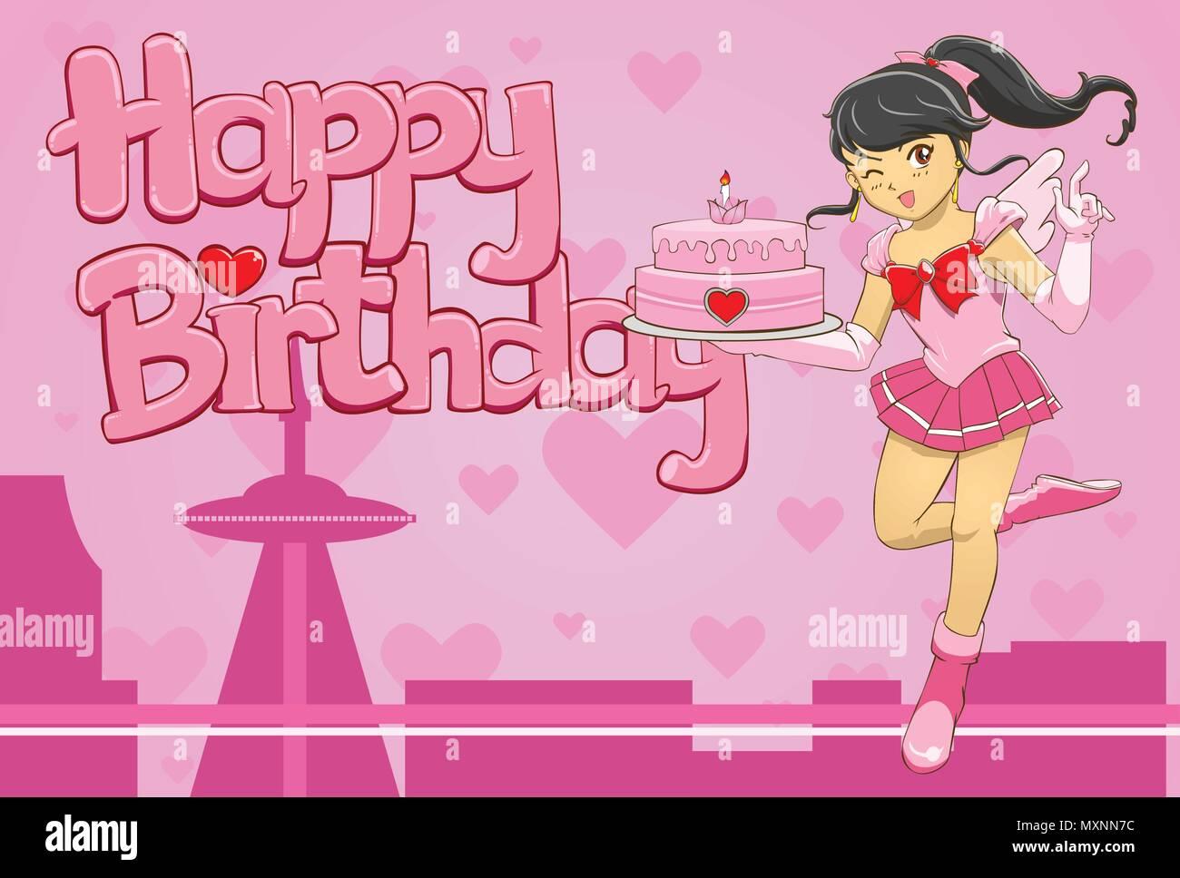 a vector illustration of little hero girl bring a birthday cake - Stock Vector