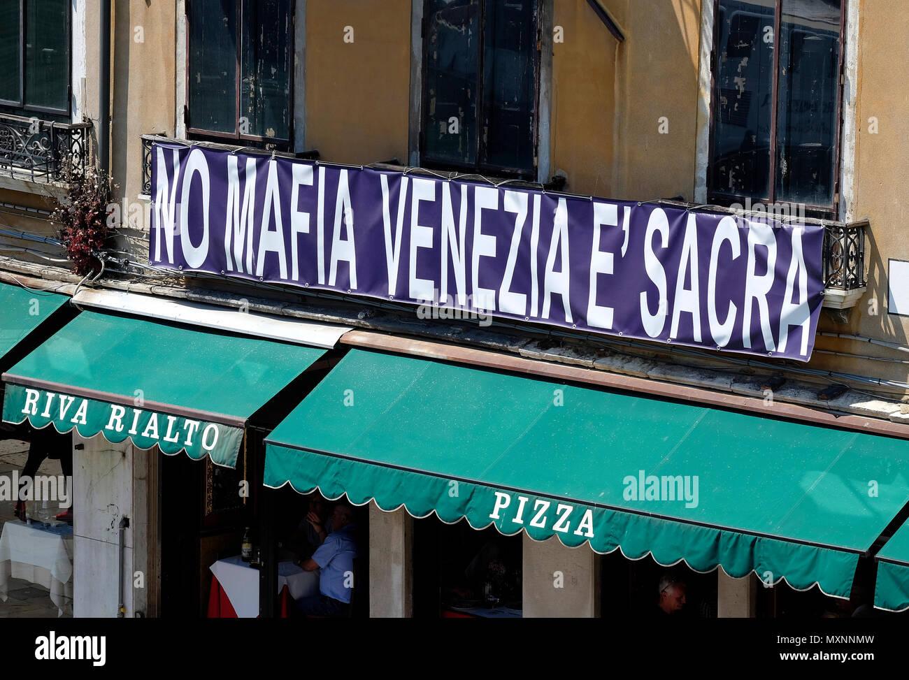 no mafia sign on building in venice, italy - Stock Image