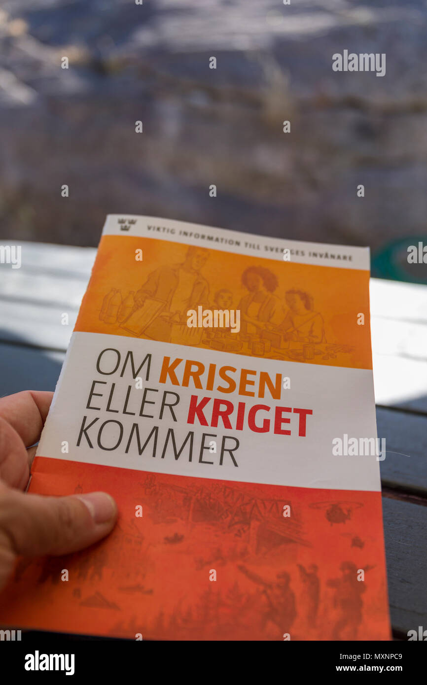 FLODA, SWEDEN - MAY 30 2018: 4.8 million Swedish households during May 28th and June 3rd were sent the brochure 'If the chrisis or the war is coming' in an attempt to better preparations and readiness for serious accidents, extreme weather, it-attacks or military conflicts - Stock Image