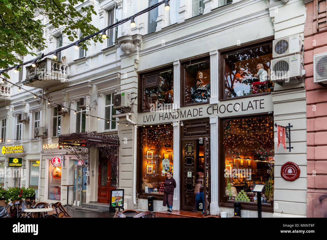 Colourful Shops On Deribasovskaya Street, Odessa, Ukraine - Stock Image