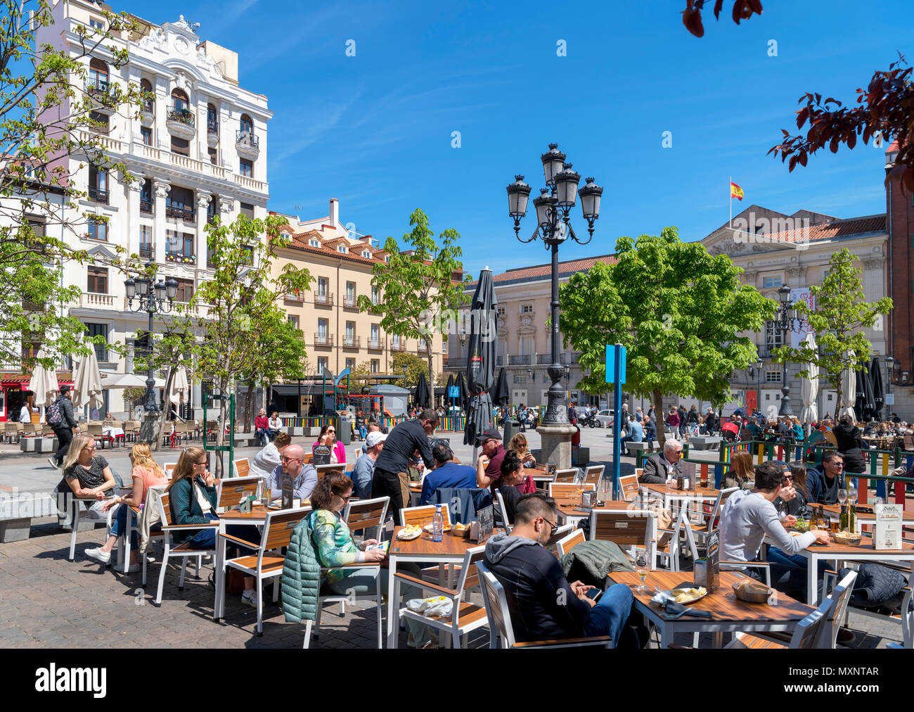 Madrid, Spain. Cafes and bars on Plaza de Santa Ana at lunchtime, Huertas district, Madrid, Spain - Stock Image