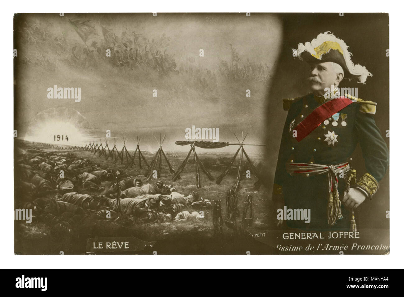 French historical photo postcard: General Joffre in full uniform  with medals. The army sleeps after the battle. Rising sun. world war one 1914-1918. - Stock Image