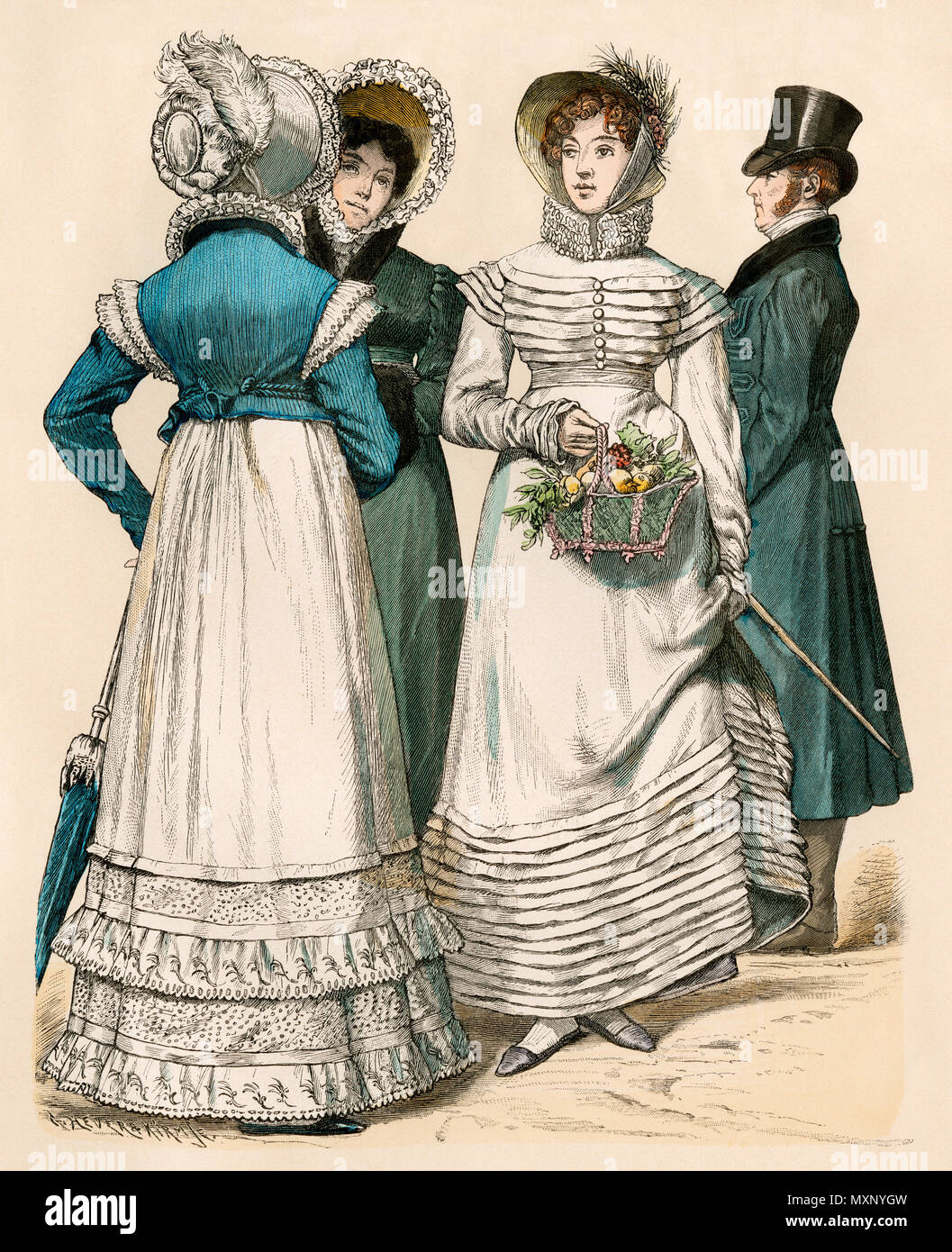 Fashionable European women about 1818. Hand-colored print - Stock Image