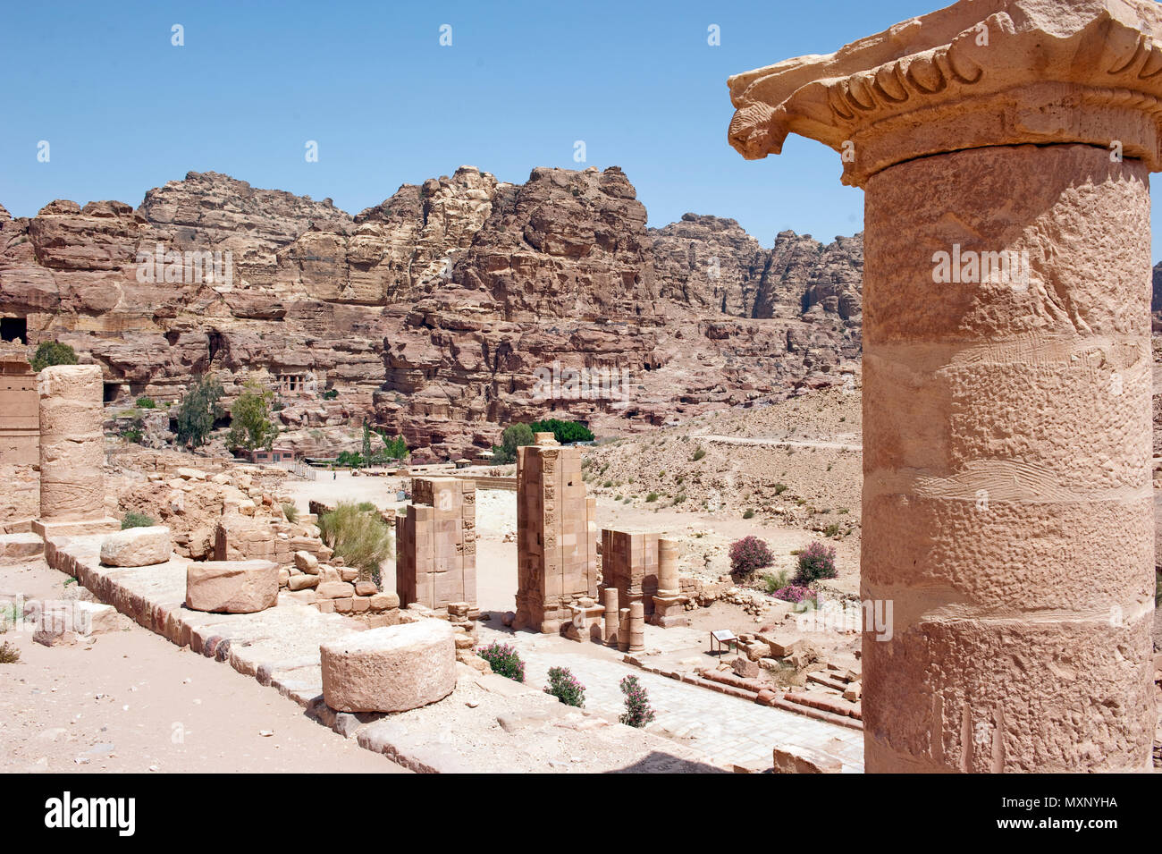 Great temple, Petra, Jordan, Asia minor | Grosser Tempel, Petra, Jordanien, Kleinasien Stock Photo