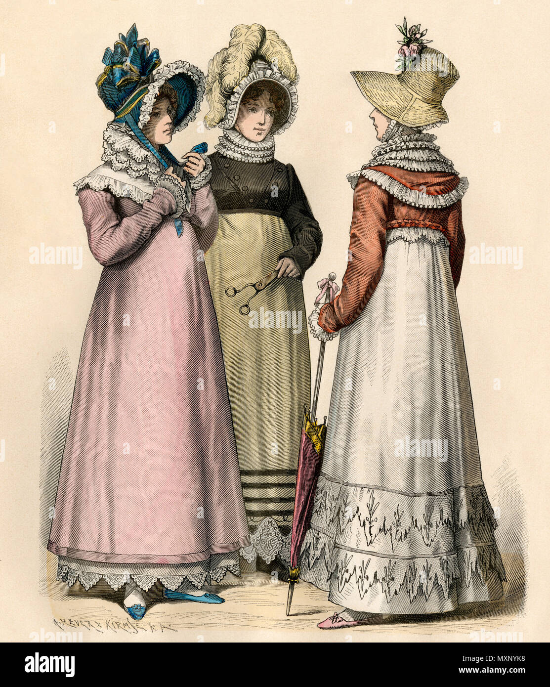 Ladies in fashions of 1814. Hand-colored print - Stock Image