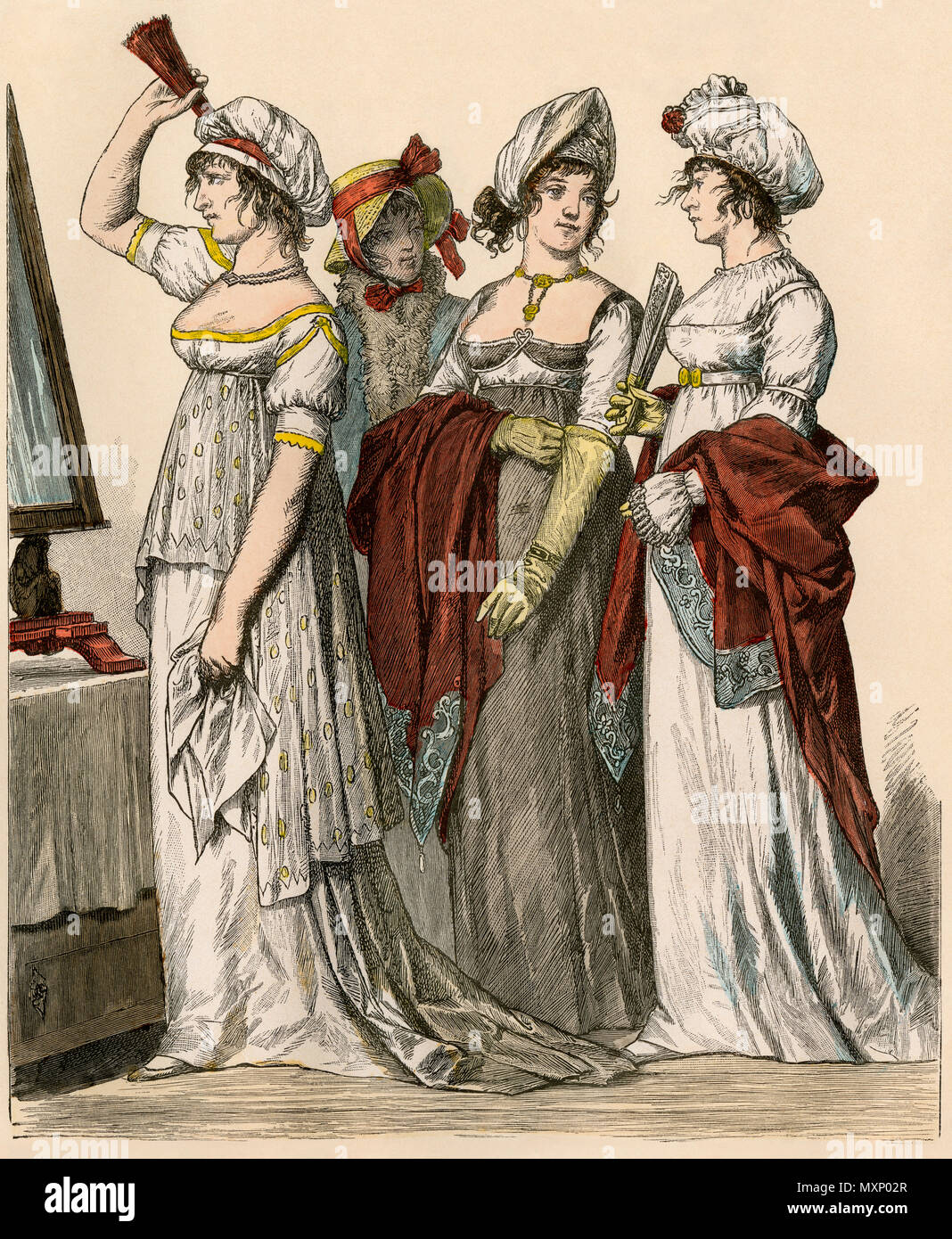 French and German ladies in Empire style gowns, 1802-1804. Hand-colored print - Stock Image