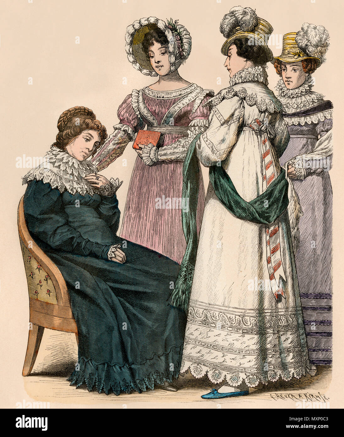 European ladies in the fashions of 1819. Hand-colored print - Stock Image