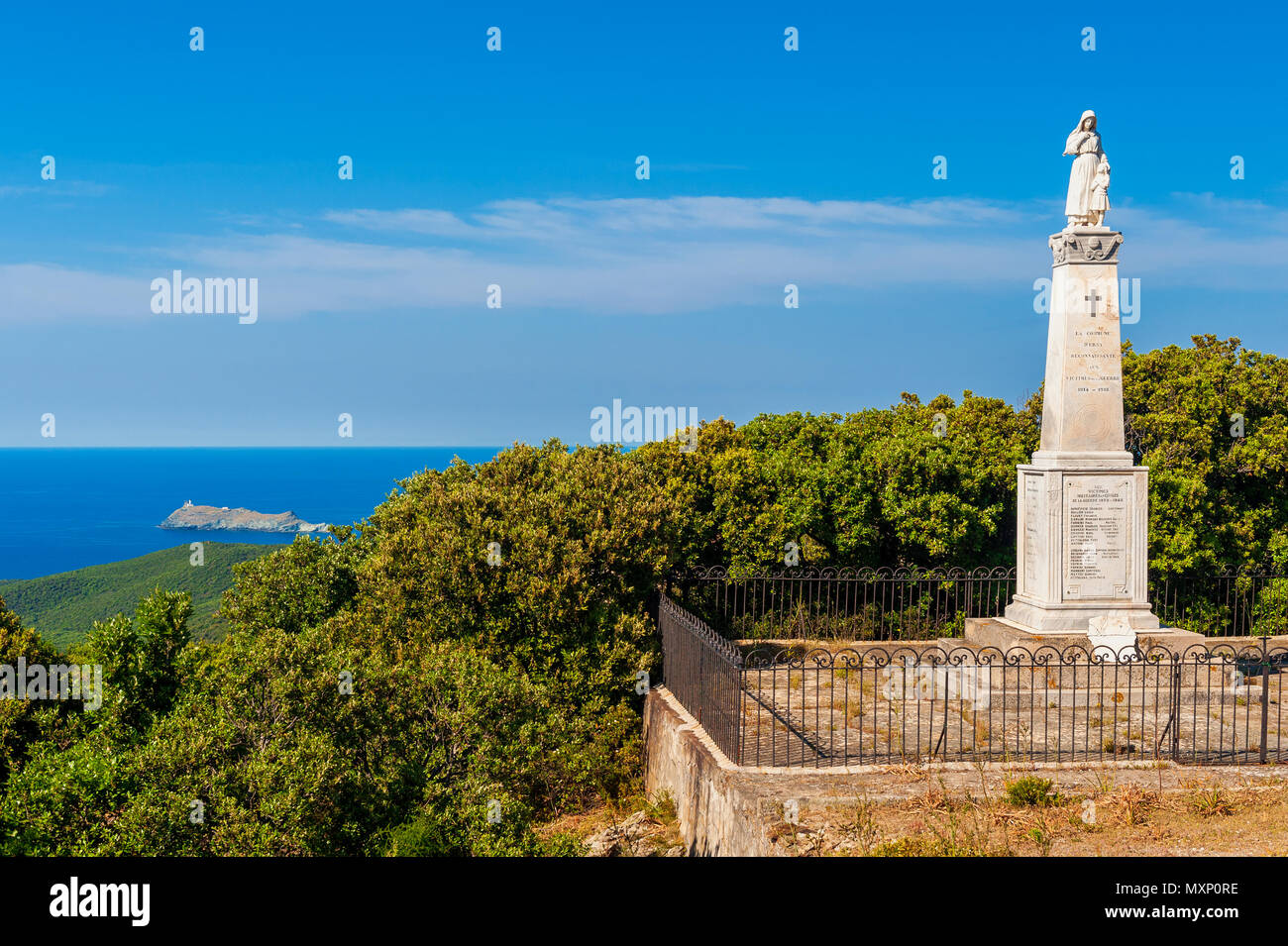 World War I and II Memorial Statue and Plaque in Ersa Corsica France - Stock Image