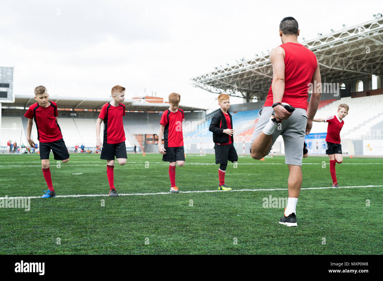 Warm-Up before Football Practice - Stock Image