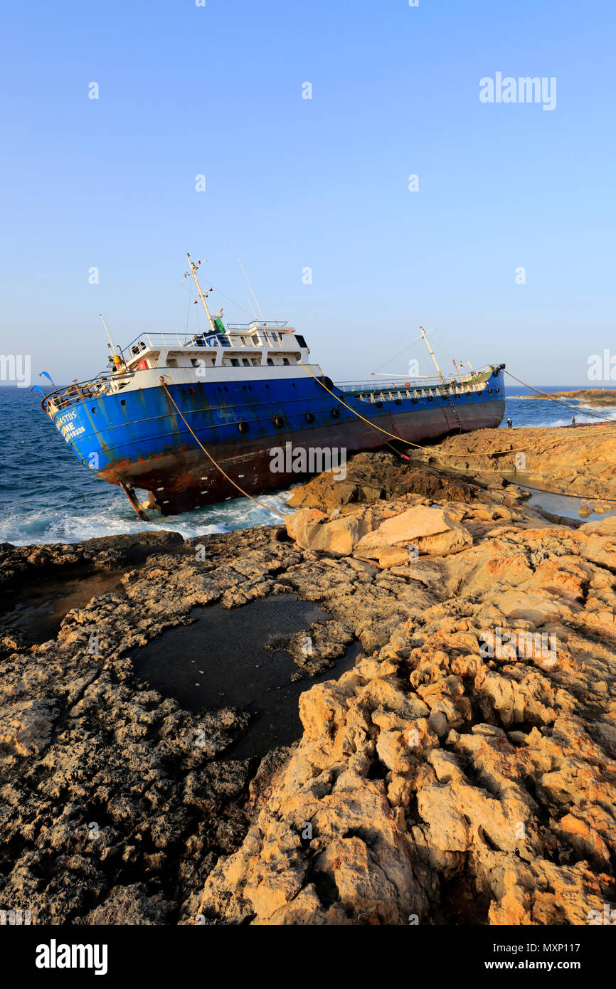 Shipwreck of the Togo-registered vessel Hephaestus, which ran aground on 10 February 2018 in Qawra village, Malta. - Stock Image